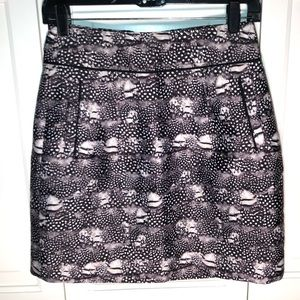 NWT j crew zip mini skirt size 0 in feather print